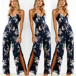 Pants - Floral jumper suite romper